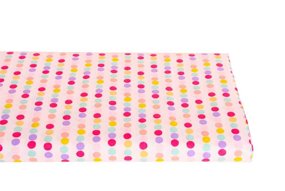 Katoenen stof - bedrukt, stippenlijn roze/lila