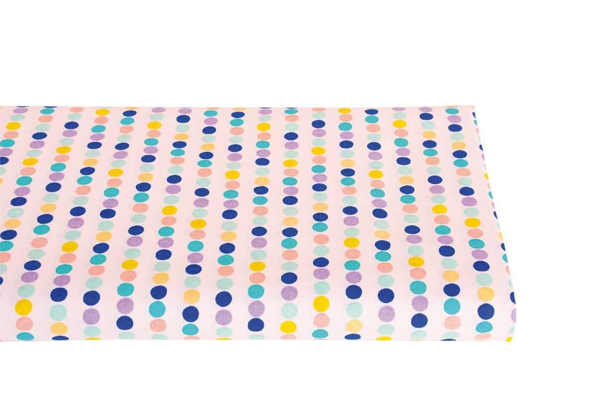 Tissu coton - imprimé, lignes de points bleu/lilas