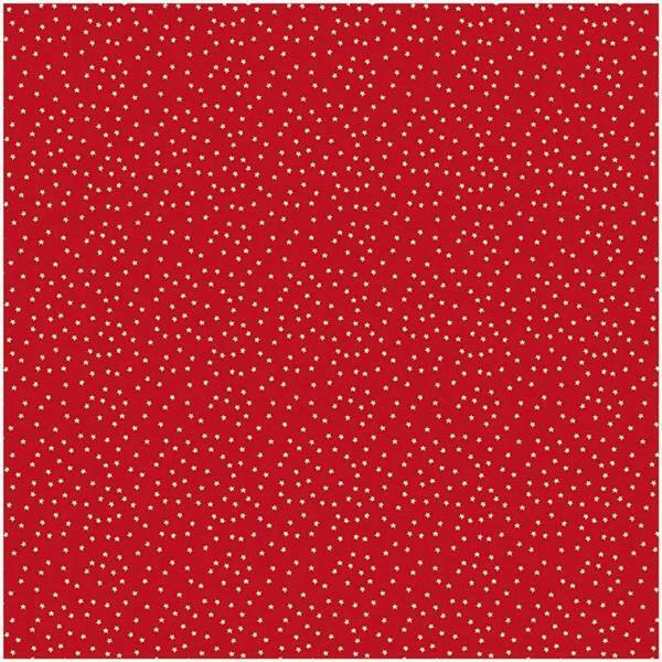 Bedrukte stof - naturel, sterrenhemel rood
