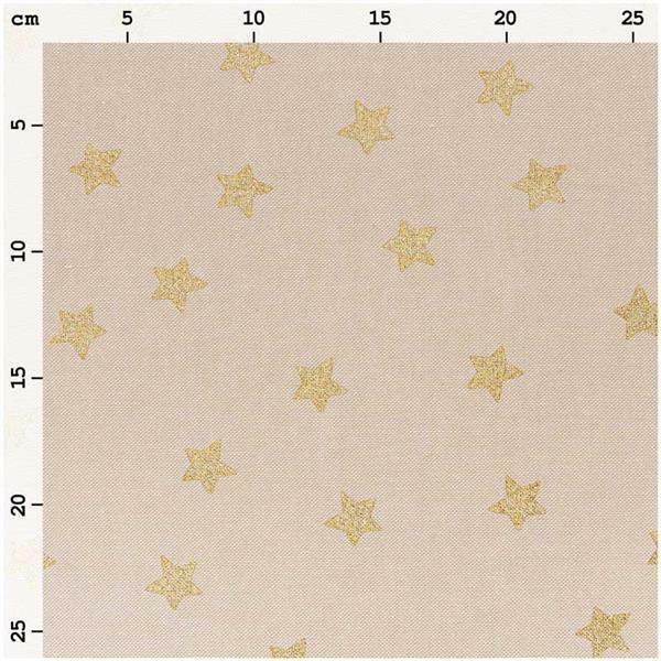 Bedrukte stof - naturel, sterren goud hotfoil