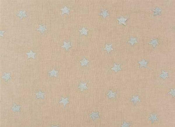 Druckstoff - natur, Sterne silber hotfoil