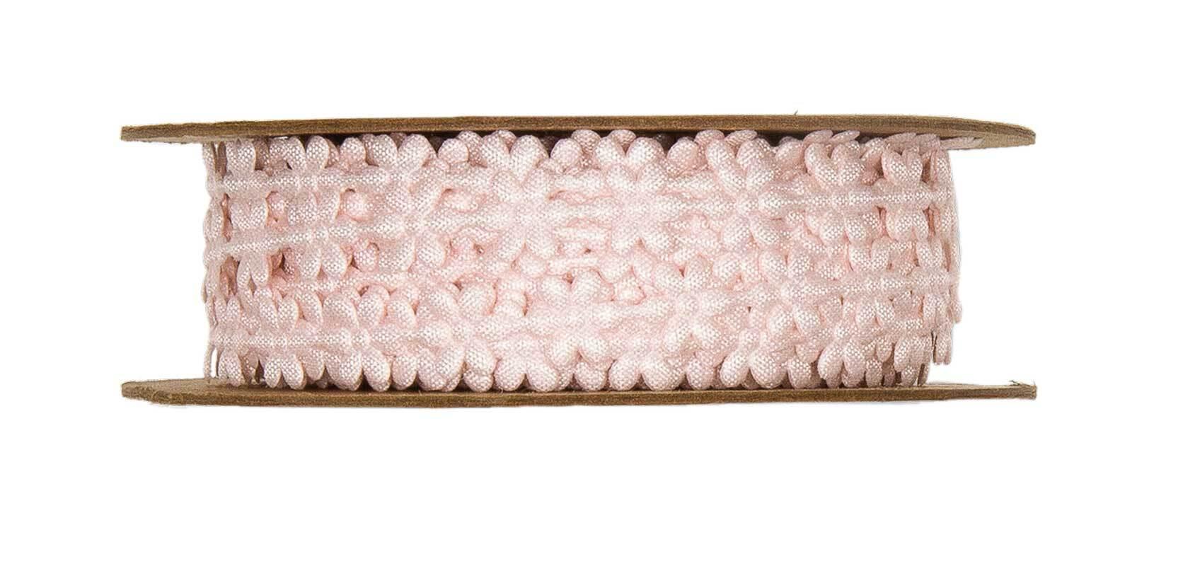 """Satijnen band """"bloemen"""" - 8 m, roze"""