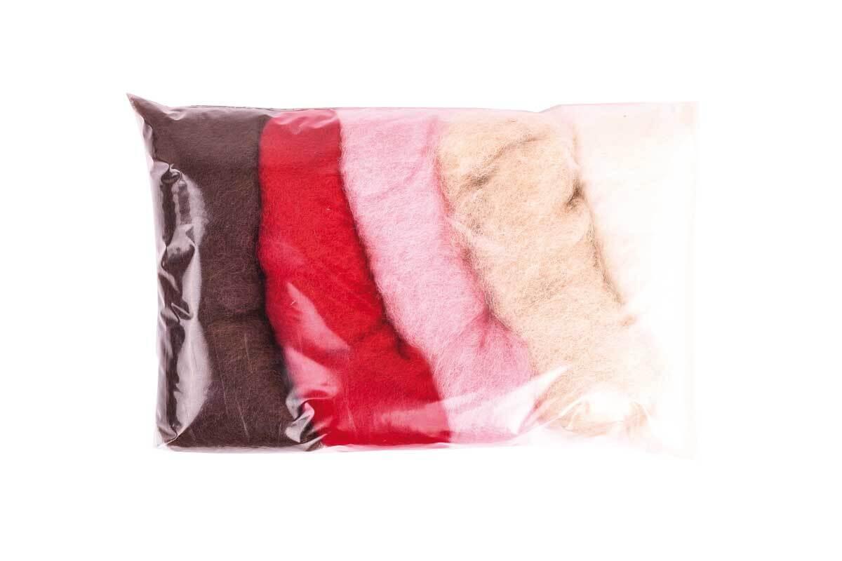 Märchenwolle - Mischpackung 100 g, natur-rot