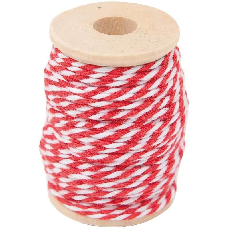 Cordelette coton - 15 m, rouge-blanc