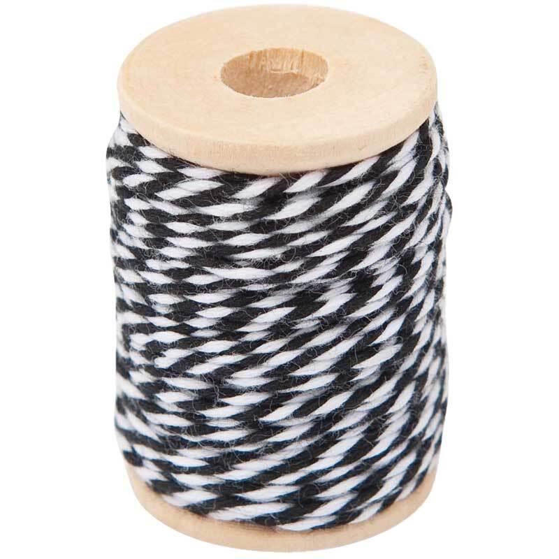 Katoenen garen - 15 m, zwart-wit