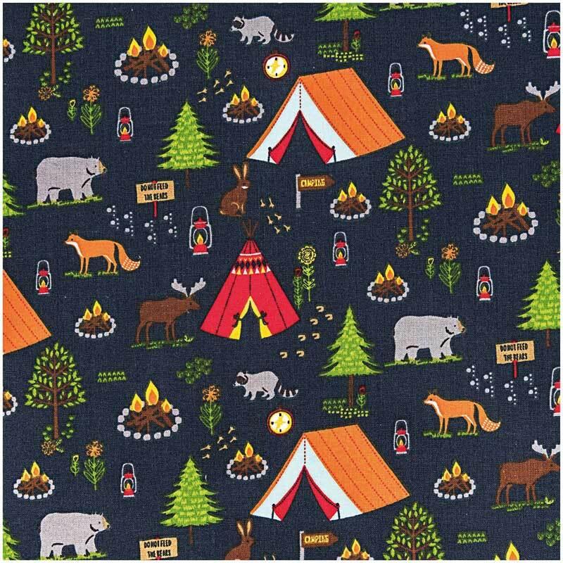 Katoenen stof - bedrukt, camping