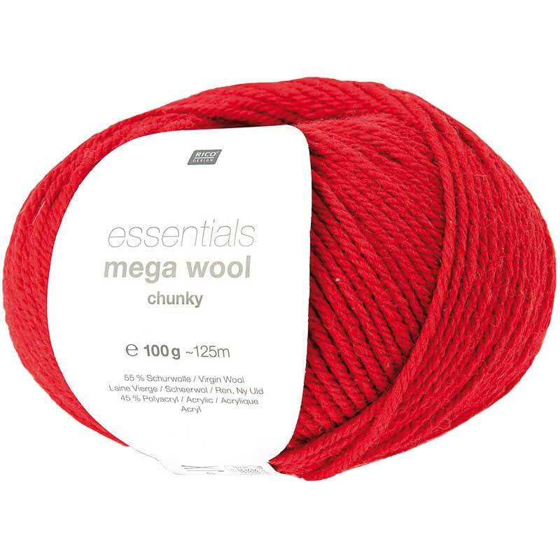 Wolle Essentials Mega Wool - 100 g, rood