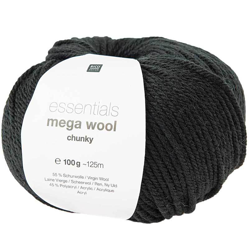 Wolle Essentials Mega Wool - 100 g, zwart