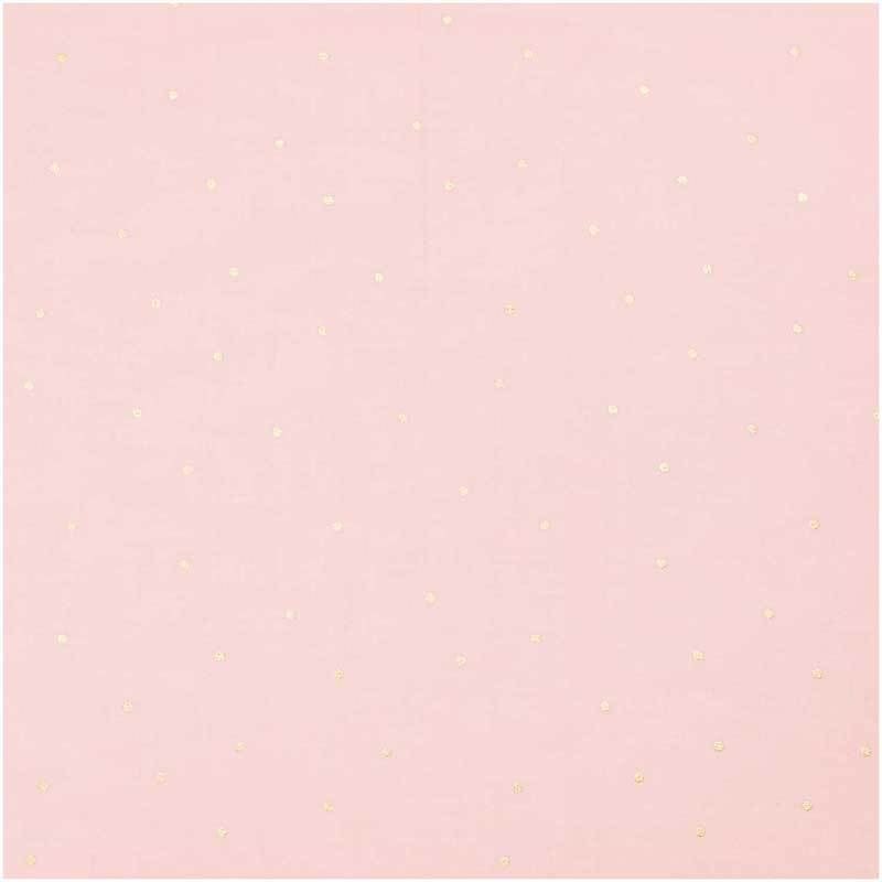 Katoenen stof - hotfoil, roze/strippen goud