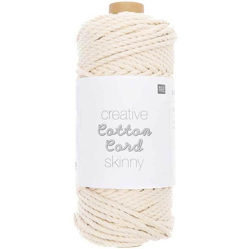 Macramé koord - Cotton Cord Skinny - Ø 3 mm, natur