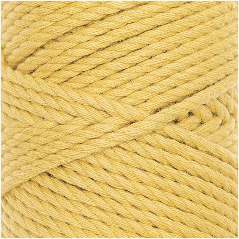 Makrameekordel Cotton Cord Skinny - Ø 3 mm, gelb