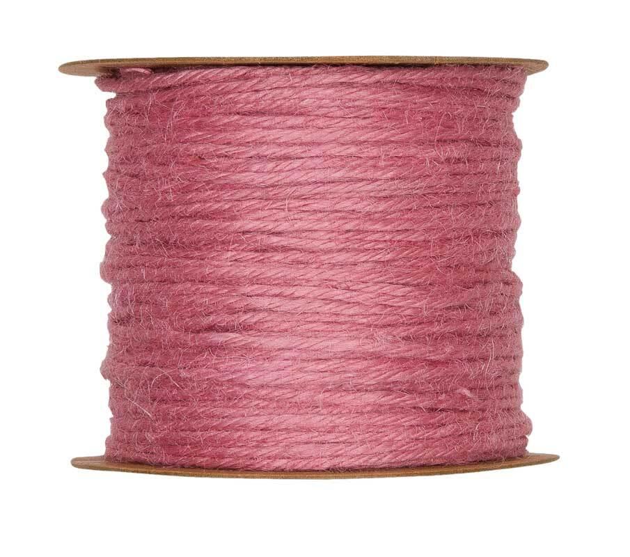 Jutekordel - Ø 2 mm, rosa