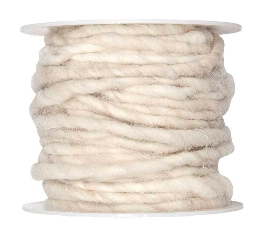 Cordon en laine feutrée, Ø env. 5 mm, crème