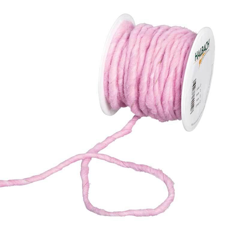 Cordon en laine feutrée, Ø env. 5 mm, rose