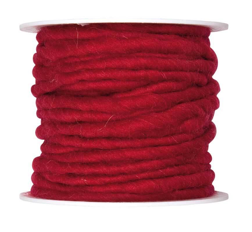 Cordon en laine feutrée, Ø env. 5 mm, bordeaux