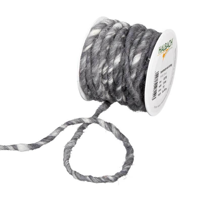 Cordon en laine feutrée, Ø env. 5 mm, gris