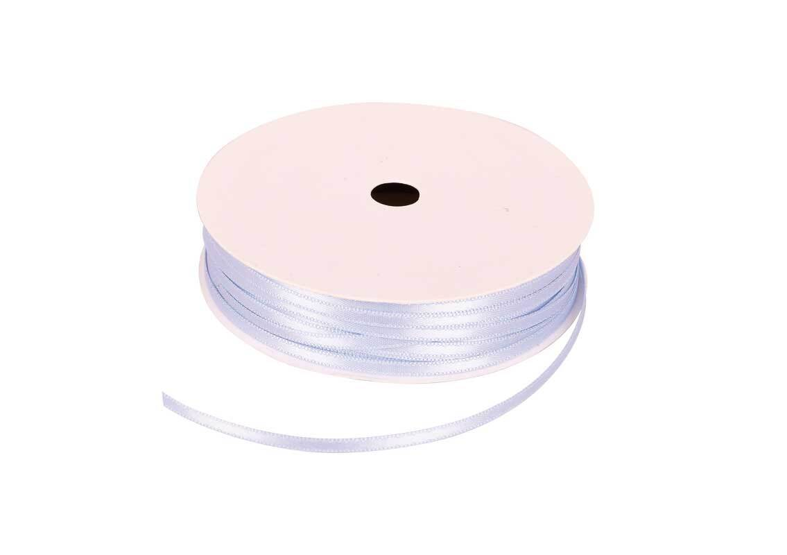 Satinband mit Webkante - 3 mm, eisblau