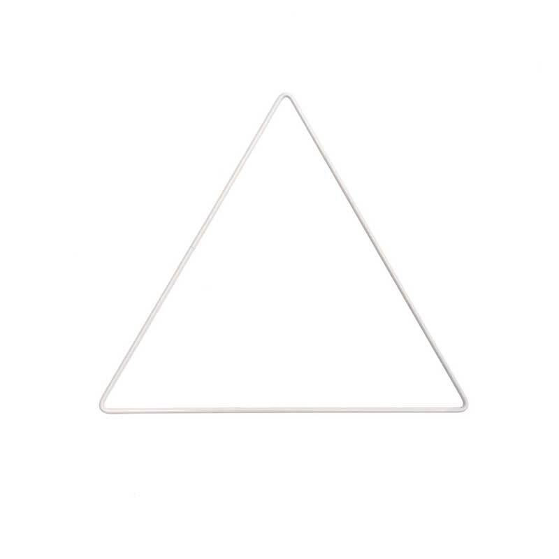 Metalen driehoek wit gecoat, 20 cm