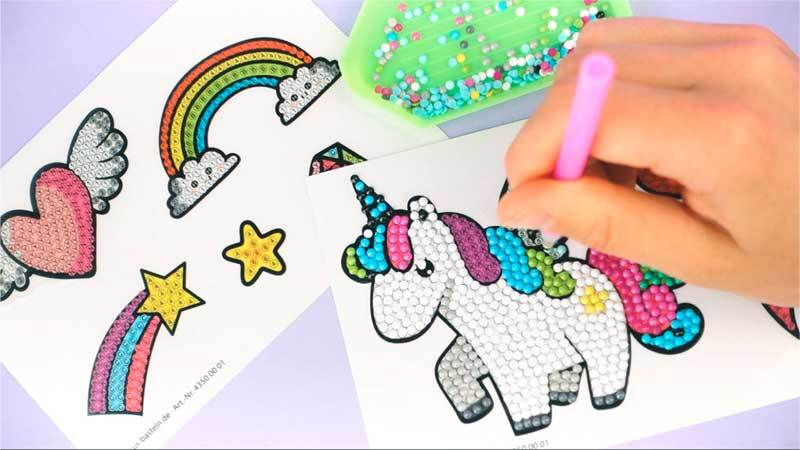 Diamond Paintingset- sticker, Unicorn