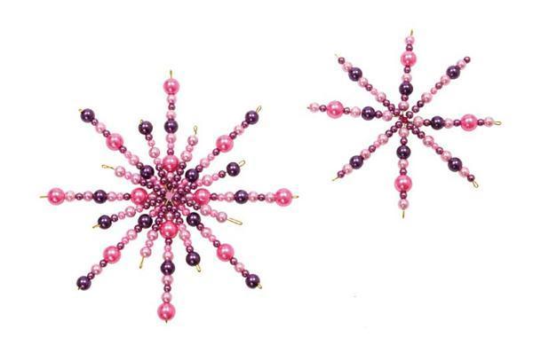 Ster van draad voor parels - 5 st., Ø 8 + 10 cm