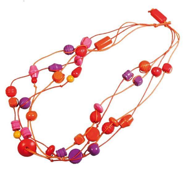 Houten kralen - 100 g, rood-lila