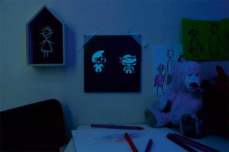 MUCKI glow in the dark verf - 150 ml, lichtblauw