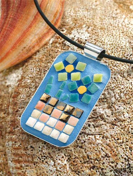 Mosaik - Collier mit Schmuckband, rechteckig