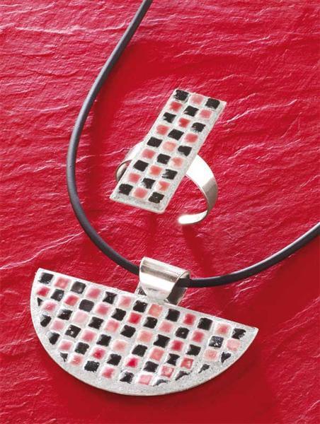 Mosaik - Collier mit Schmuckband, halbrund