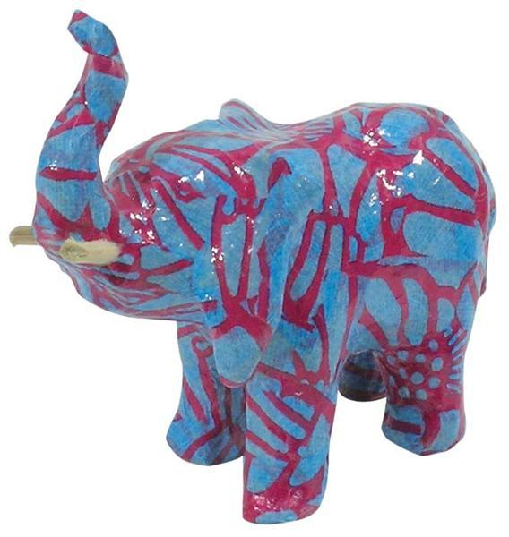 Papier-maché figuur - olifant, 11 x 9 x 5 cm