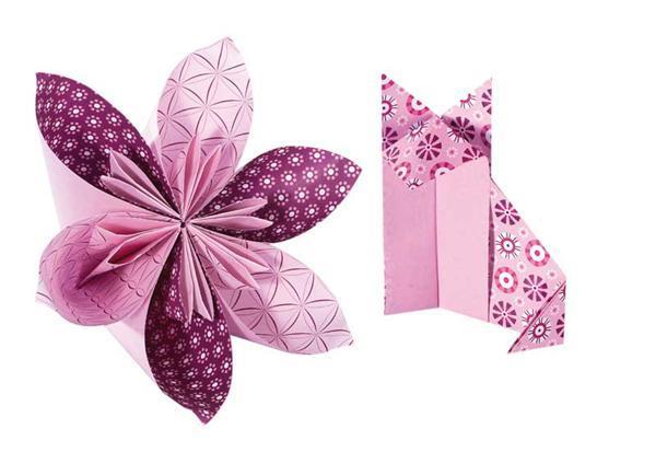 Faltblätter mit Motiven - 15 x 15 cm, rosa