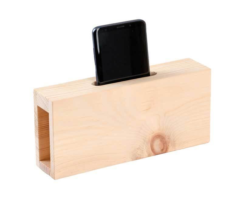 Handy Verstärker aus Zirbenholz