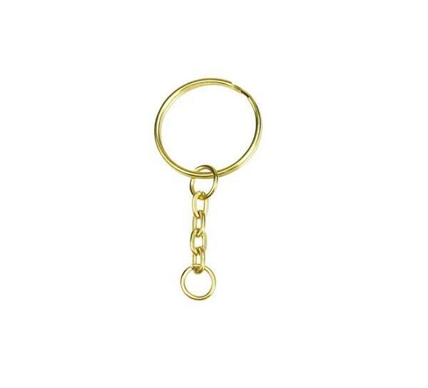 Schlüsselringe mit Kette - 10er Pkg., Ø 25 mm,