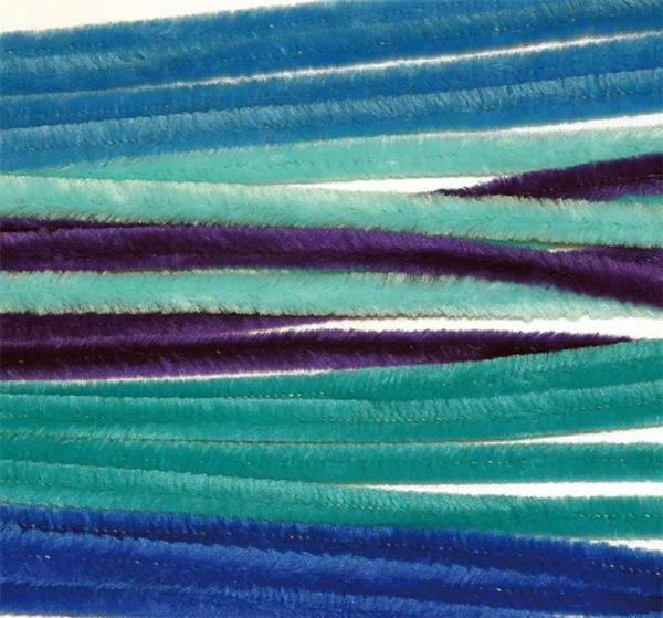 Chenilledraht Mix - 10 Stk., 50 cm, blau