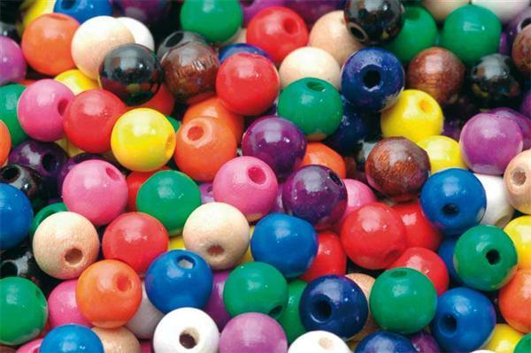 85 Holzperlen 8 mm verschiedene Einzelfarben und Sortimente