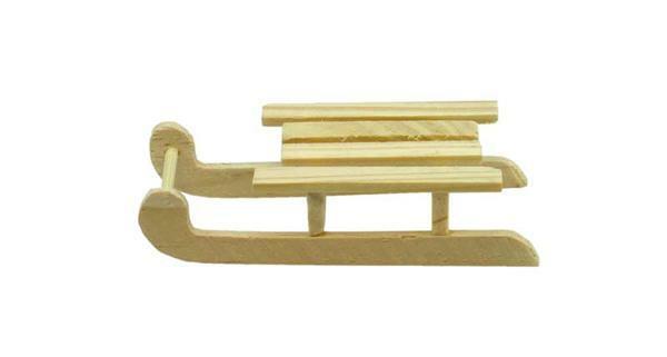 Luge en bois, env. 80 x 40 mm