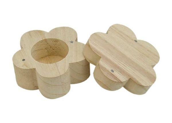 Holzdose, Blume -100 x 60 mm
