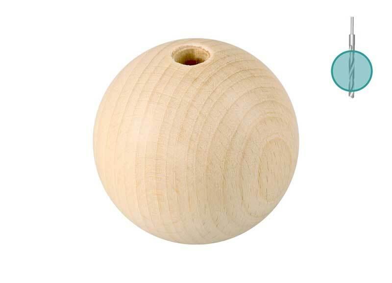 Houten ballen - 10 st., gat 8 mm, Ø 40 mm