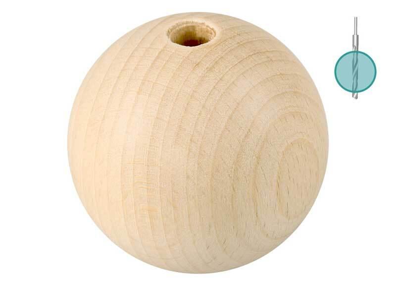 Houten ballen - 10 st.,  gat 8 mm, Ø 50 mm