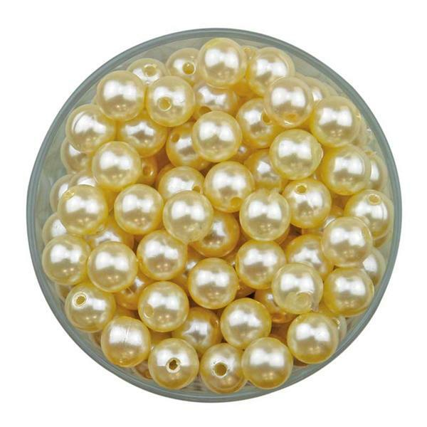 Perles cirées - beige, env.1000 pces, Ø 10 mm