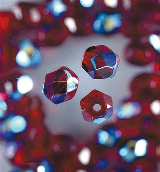 Geslepen glaskralen - Ø 4 mm, granaat