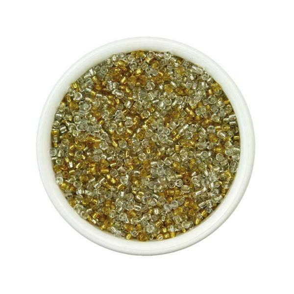 Rocailles Ø 1,5-2,6mm, 100g, goud-zilver-kristal