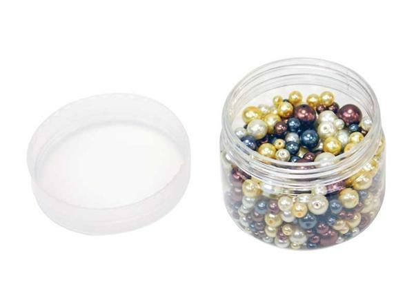 Perles de verre cirées - ton sur ton, naturel