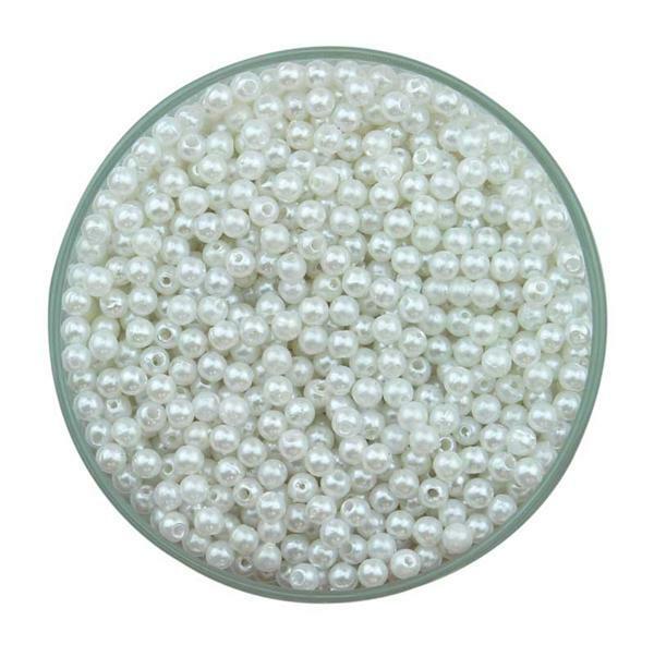 Wachsperlen weiß, ca. 1500 Stk., Ø 4 mm