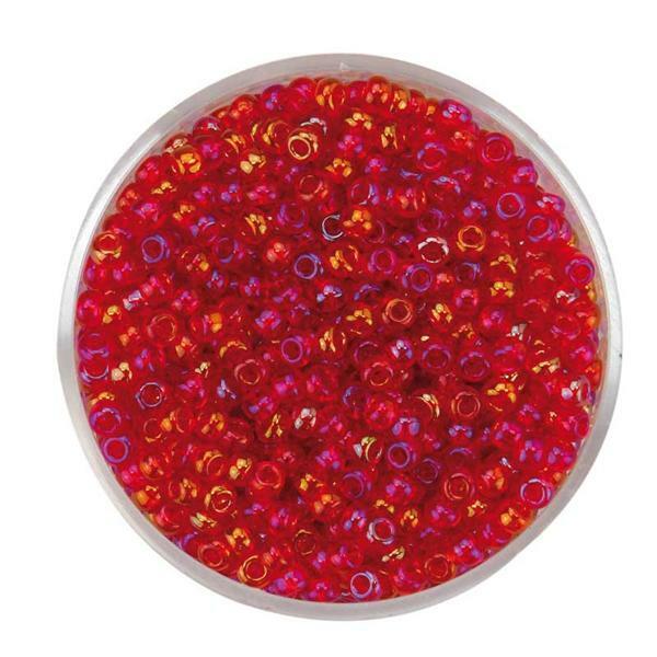 Rocailles irisées - Ø 2,6 mm, rouge