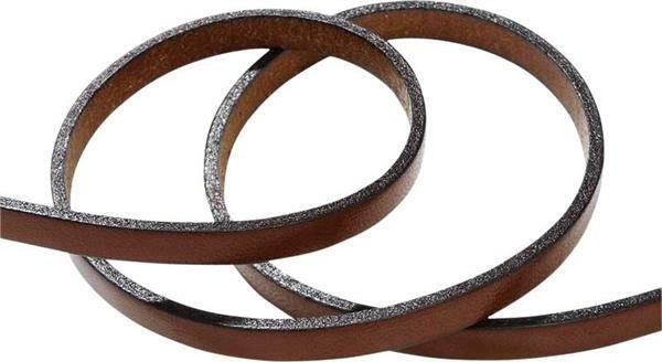 Lanière de cuir plate - 5 mm, 80 cm, brun