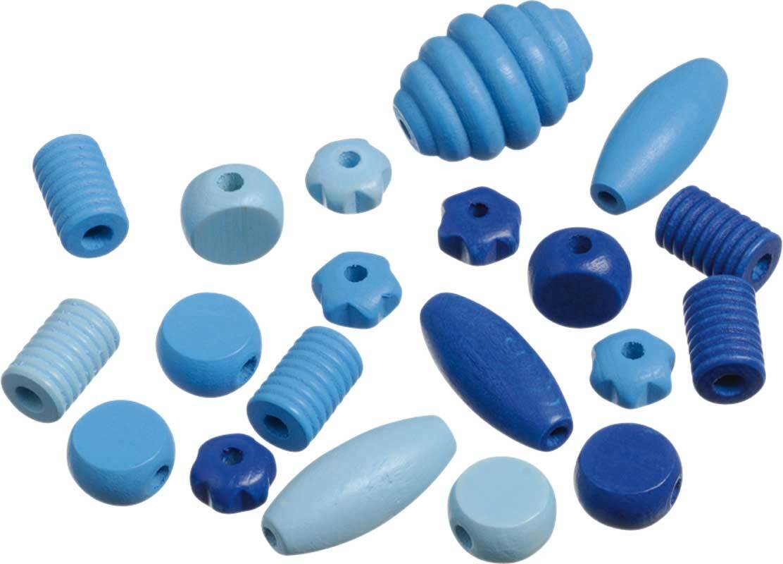 Holzperlen Formen - 20 Stk., blau