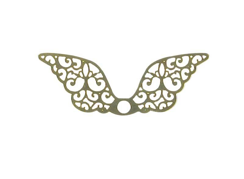 Anhänger Flügel - 40 x 13 mm, gold