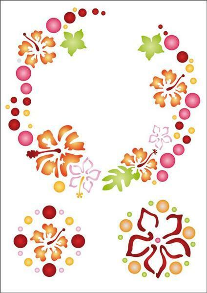 Pochoir - A4, Ronde des fleurs