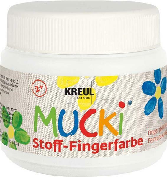 MUCKI Peinture aux doigts Textile - 150 ml, blanc