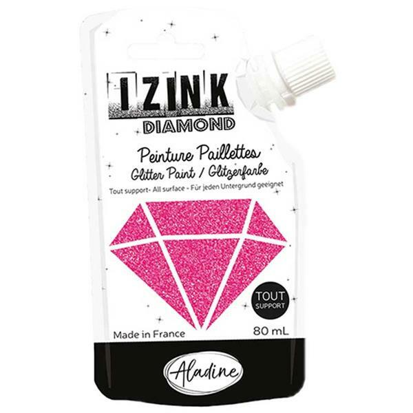 IZINK Diamond glitterverf - 80 ml, fuchsia